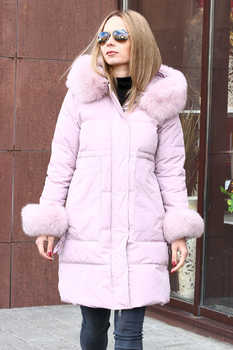 Розовая куртка - пуховик miss fofo с песцовым мехом