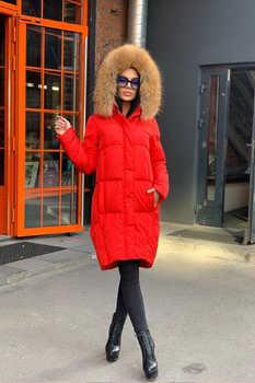 Красная куртка на пуху