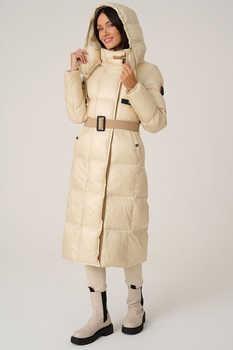Длинная зимняя куртка экошуба с воротником