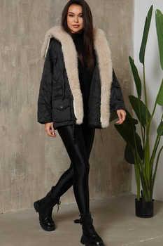 Модный пуховик на зиму с нашивками