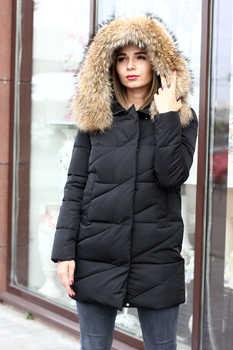 Пуховая куртка с енотом