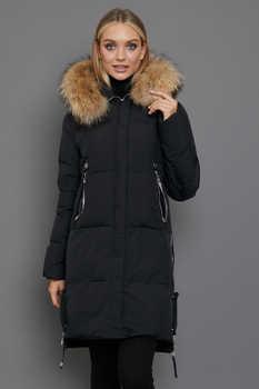 Зимний пуховик теплый с накладными карманами