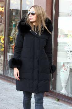 Недорогая куртка - пуховик miss fofo с песцовой отделкой