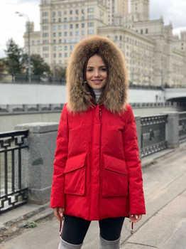 Красная укороченная куртка - пуховик